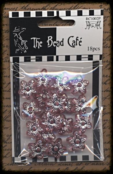 Craftime Bead Cafe Flower Beads Pink